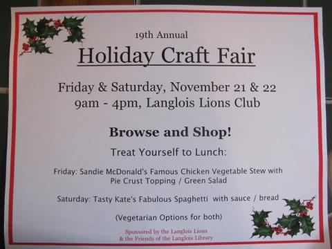 2014 Craft Fair: Langlois Library & Langlois Lions Club