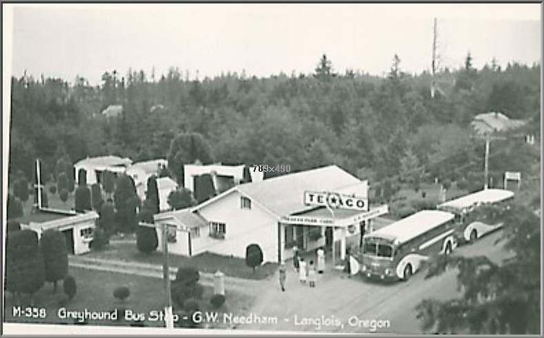 Langlois, Oregon Greyhound bus stop with two 743's parked at gas pumps